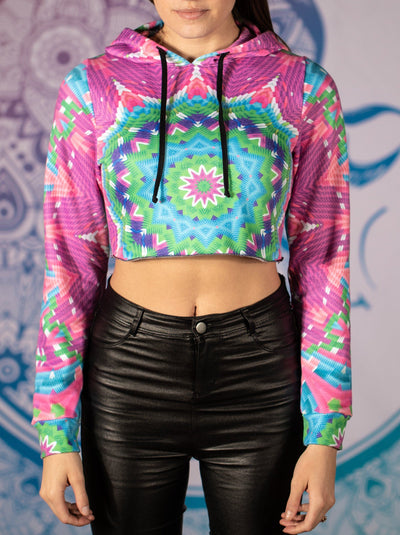 Colorful Blocks Mandala Crop Hoodie Crop Hoodie T6
