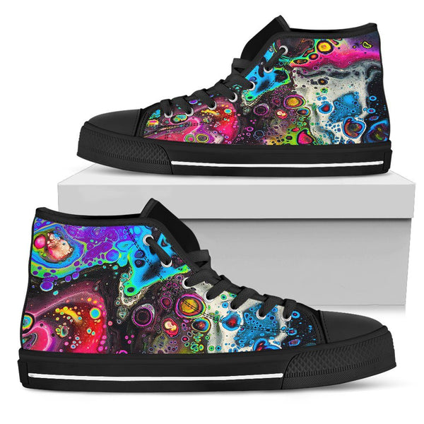 Cosmic Trip Men's High Tops Electro Threads Mens High Top - Black - Cosmic Trip Black US5 (EU38)