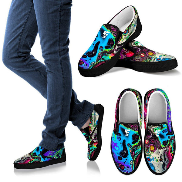 COSMIC TRIP SLIPONS Electro Threads Women's Slip Ons - Black - COSMIC TRIP US6 (EU36)