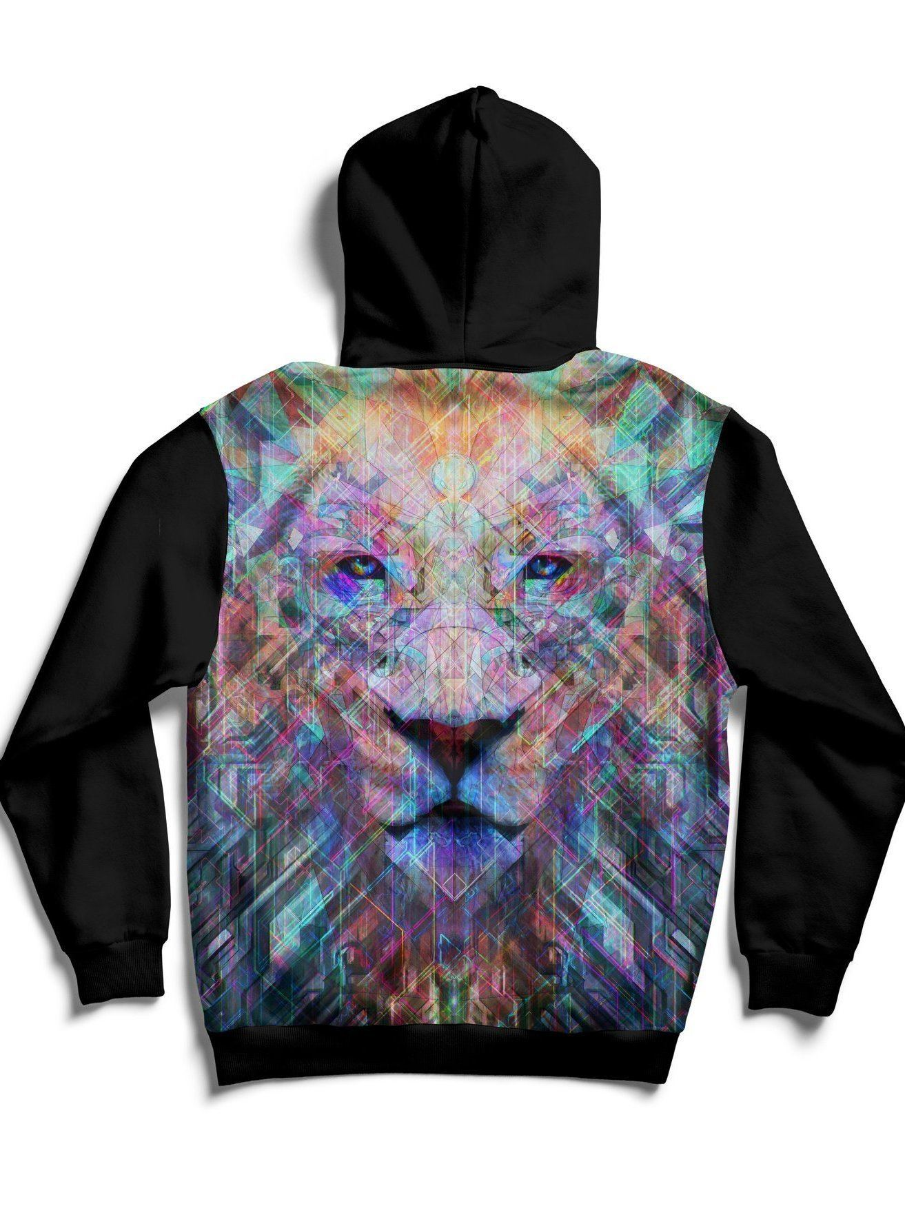 Crystal Lion Back Panel Unisex Hoodie Pullover Hoodies T6