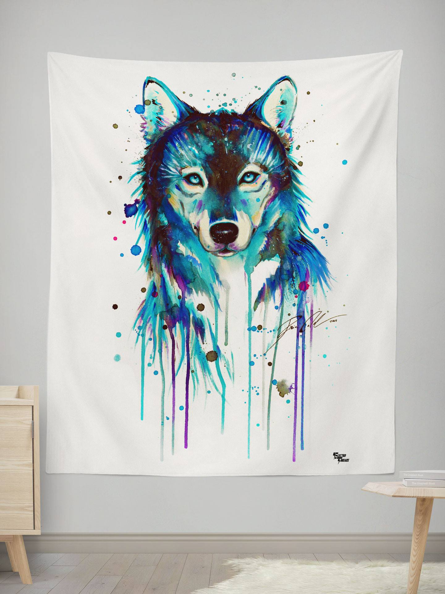 "Dark Wolf Tapestry Tapestry Electro Threads SMALL: 32"" x 42"""