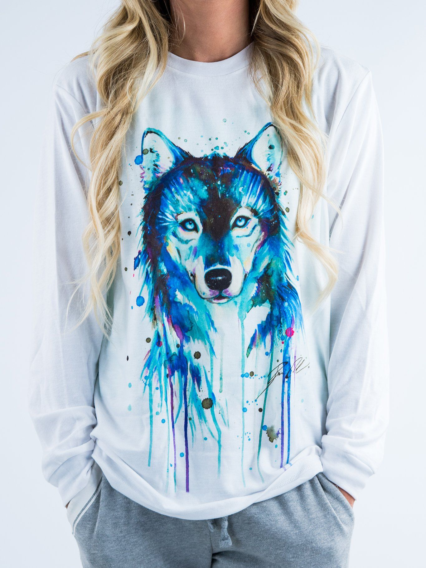 Dark Wolf Unisex Long Sleeve Shirt Long Sleeve Electro Threads X-Small