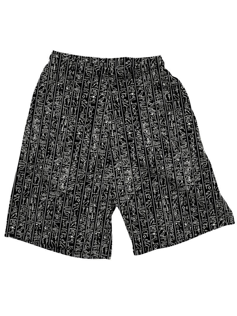 Egyptian Glyphs (Black) Shorts Mens Shorts Electro Threads