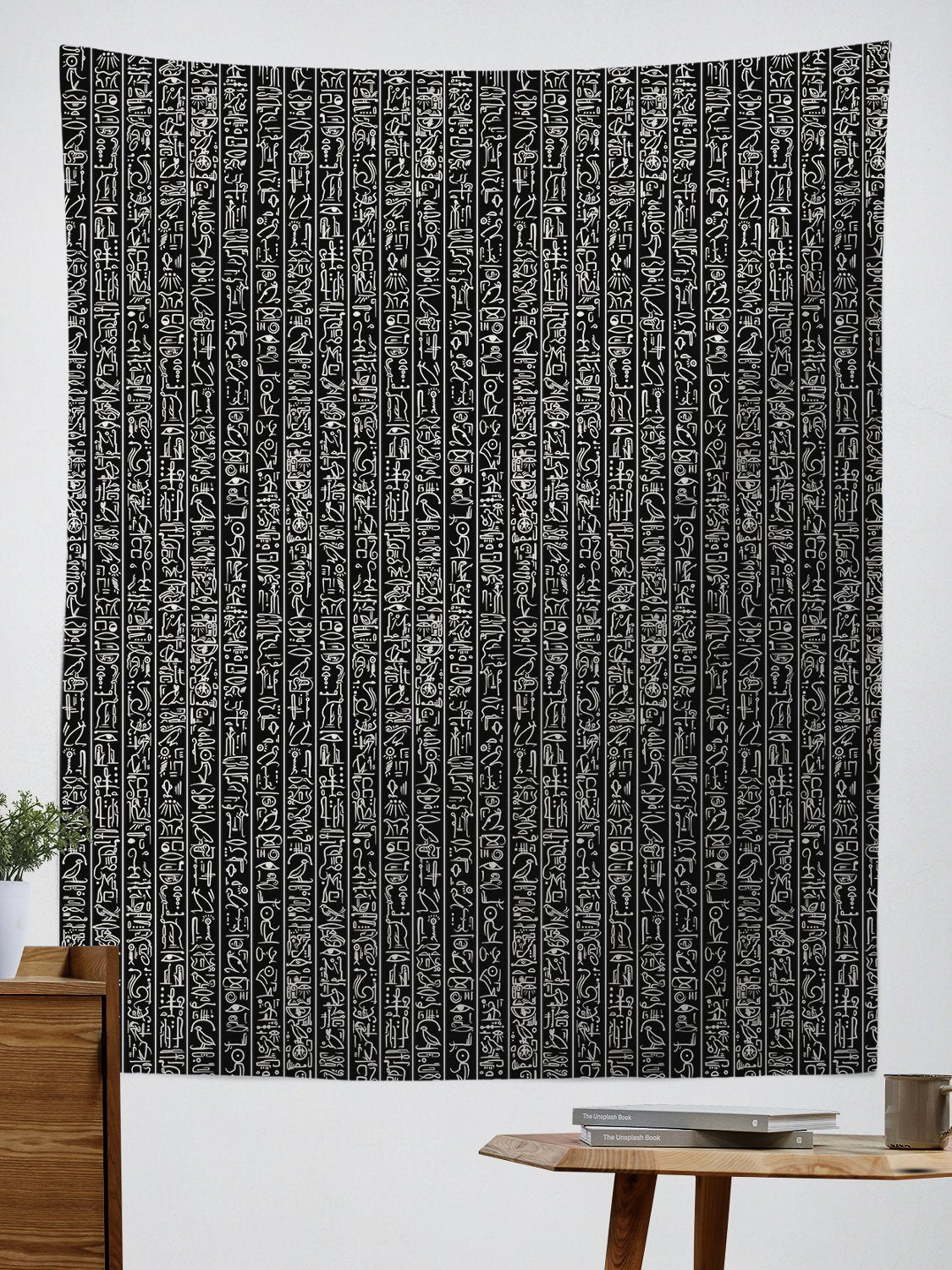 Egyptian Glyphs (Black) Tapestry Tapestry Electro Threads