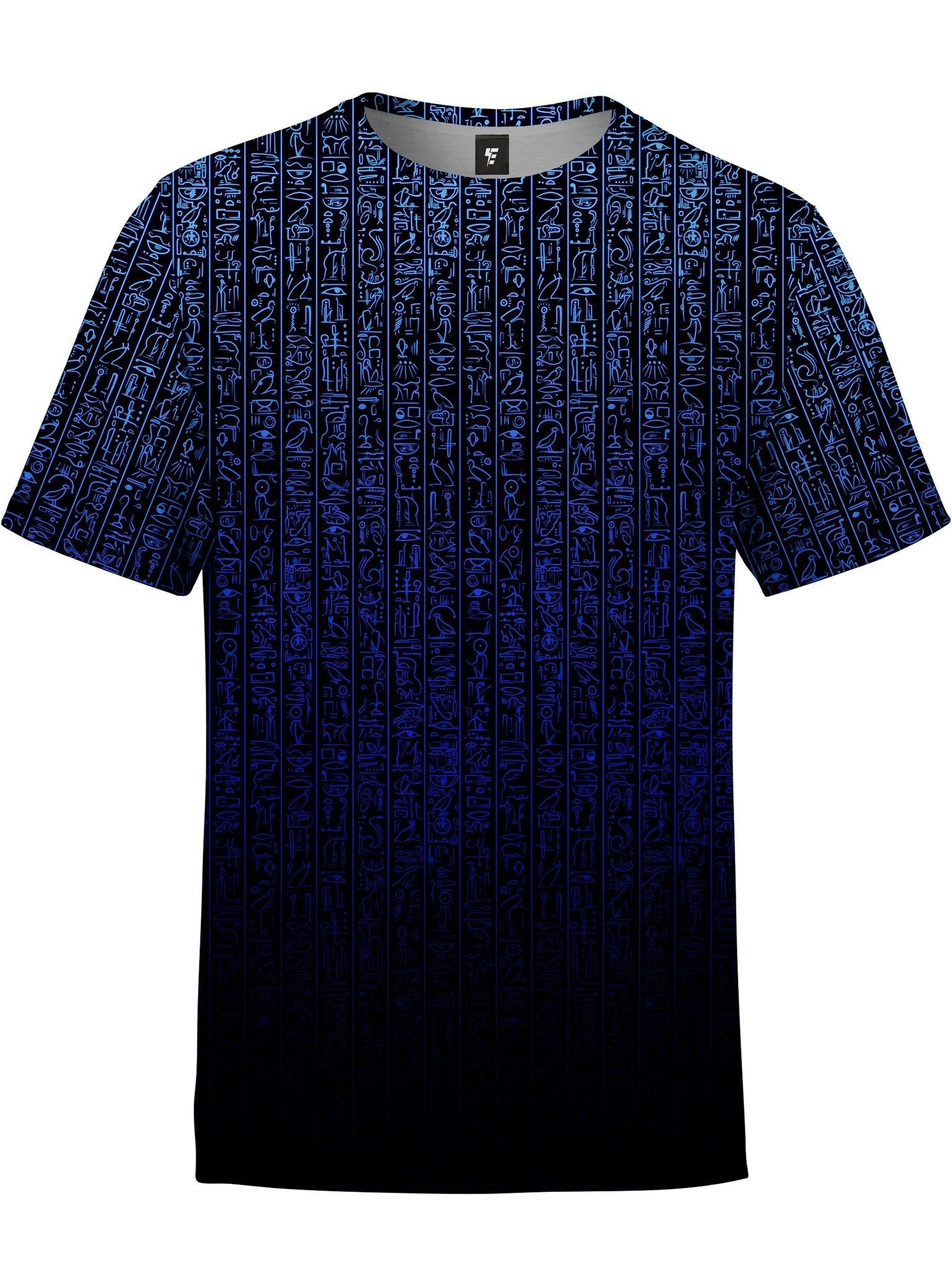 Egyptian Glyphs (Blue) Unisex Crew T-Shirts Electro Threads