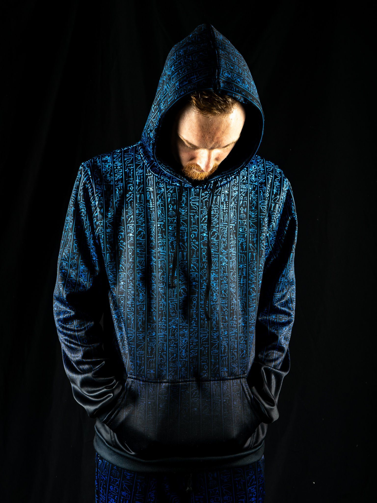 Egyptian Glyphs (Blue) Unisex Hoodie Pullover Hoodies Electro Threads
