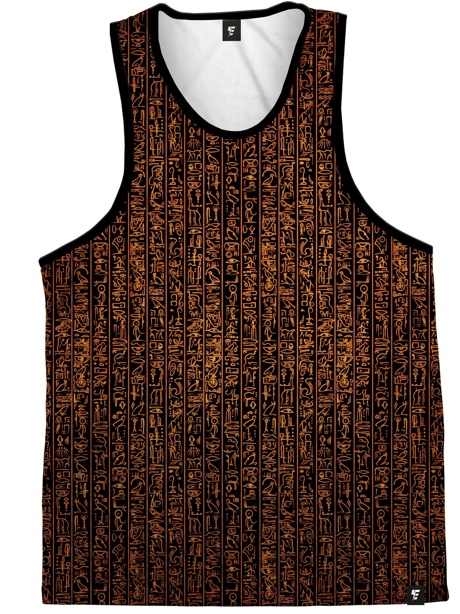 Egyptian Glyphs (Golden) Unisex Tank Top Tank Tops Electro Threads
