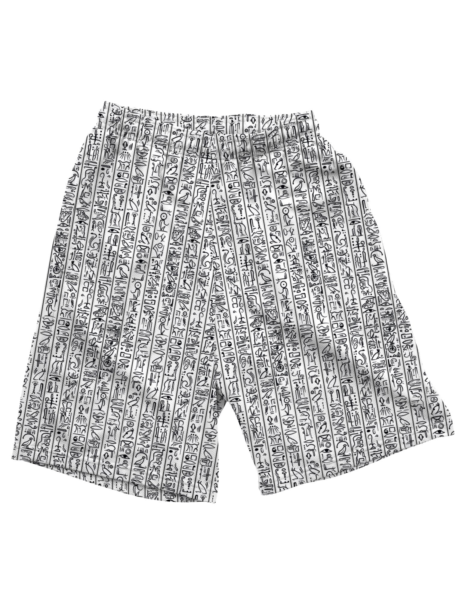 Egyptian Glyphs (White) Shorts Mens Shorts Electro Threads