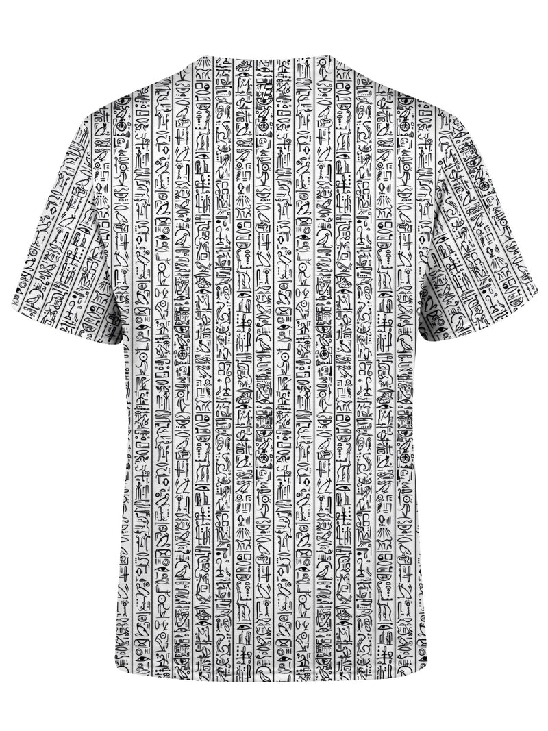 Egyptian Glyphs (White) Unisex Crew T-Shirts Electro Threads