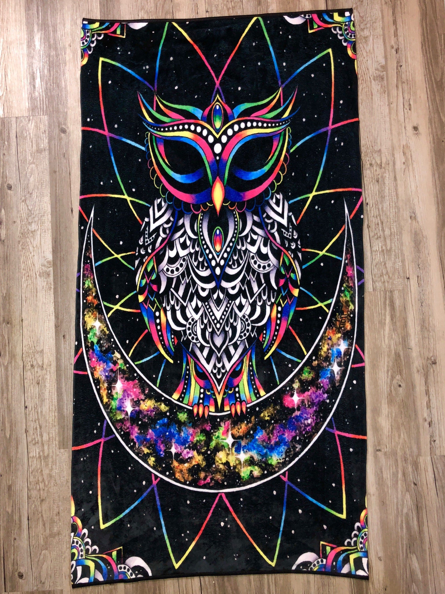 Electro Owl Beach Towel Towel Electro Threads