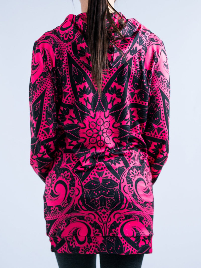 Electro Pink Mandala Hooded Dress Hoodie Dress T6 XS Pink