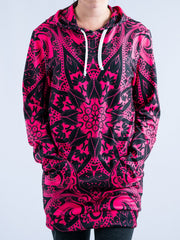 Electro Pink Mandala Hooded Dress Hoodie Dress T6
