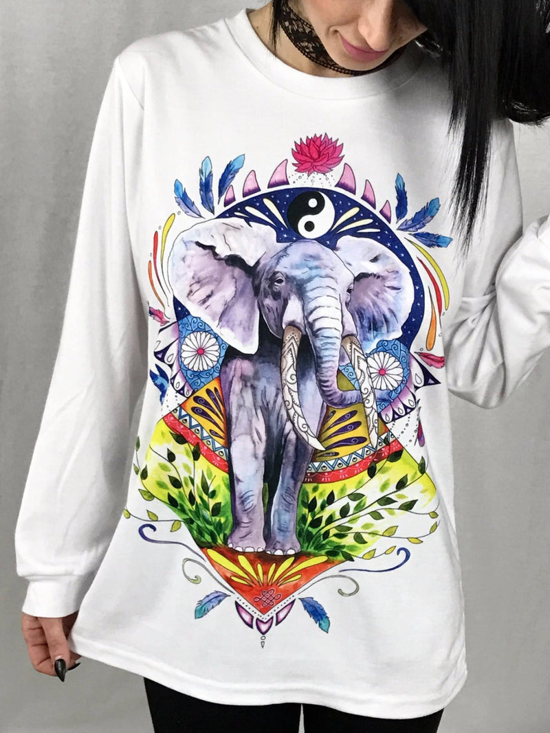 Elephant Vibes Unisex Long Sleeve Shirt Long Sleeve Electro Threads