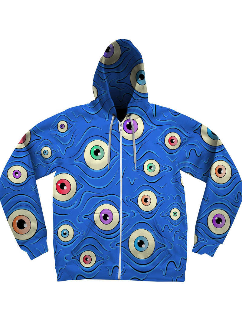 Eyes Unisex Zip-Up Hoodies Zip-Up Hoodies Electro Threads XS Green Regular