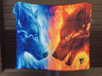 Fire and Ice Blanket Blanket Electro Threads THROW 50 X 60 Micro Fleece