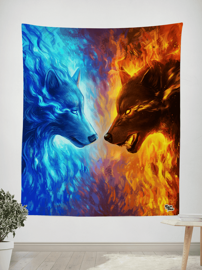 "Fire and Ice Tapestry Tapestry Electro Threads SMALL: 32"" x 42"" Orange"