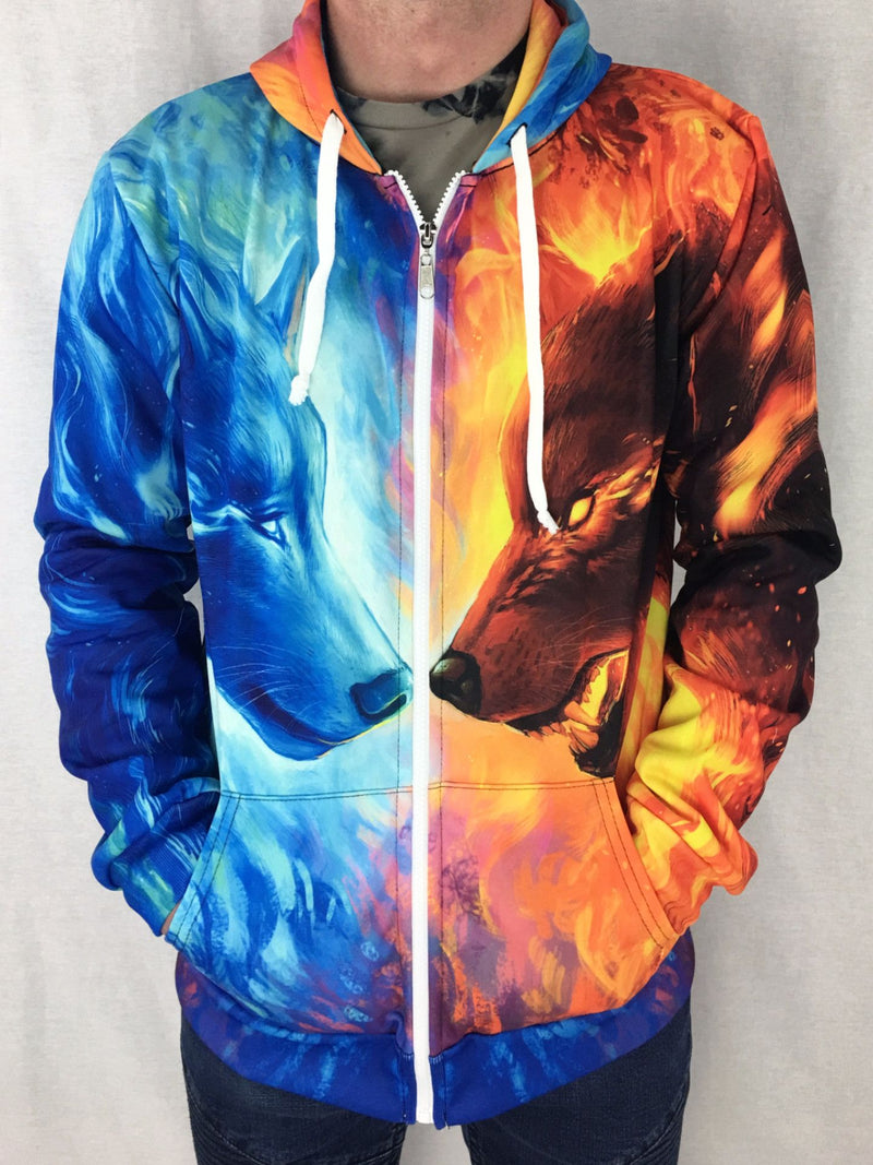 Fire and Ice Unisex Zip Hoodie Pullover Hoodies T6