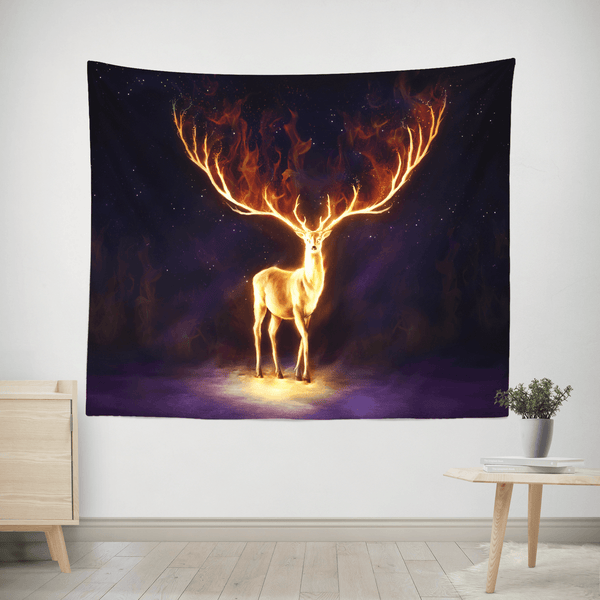 "Fire Walker Tapestry Tapestry Electro Threads SMALL: 32"" x 42"" Black"