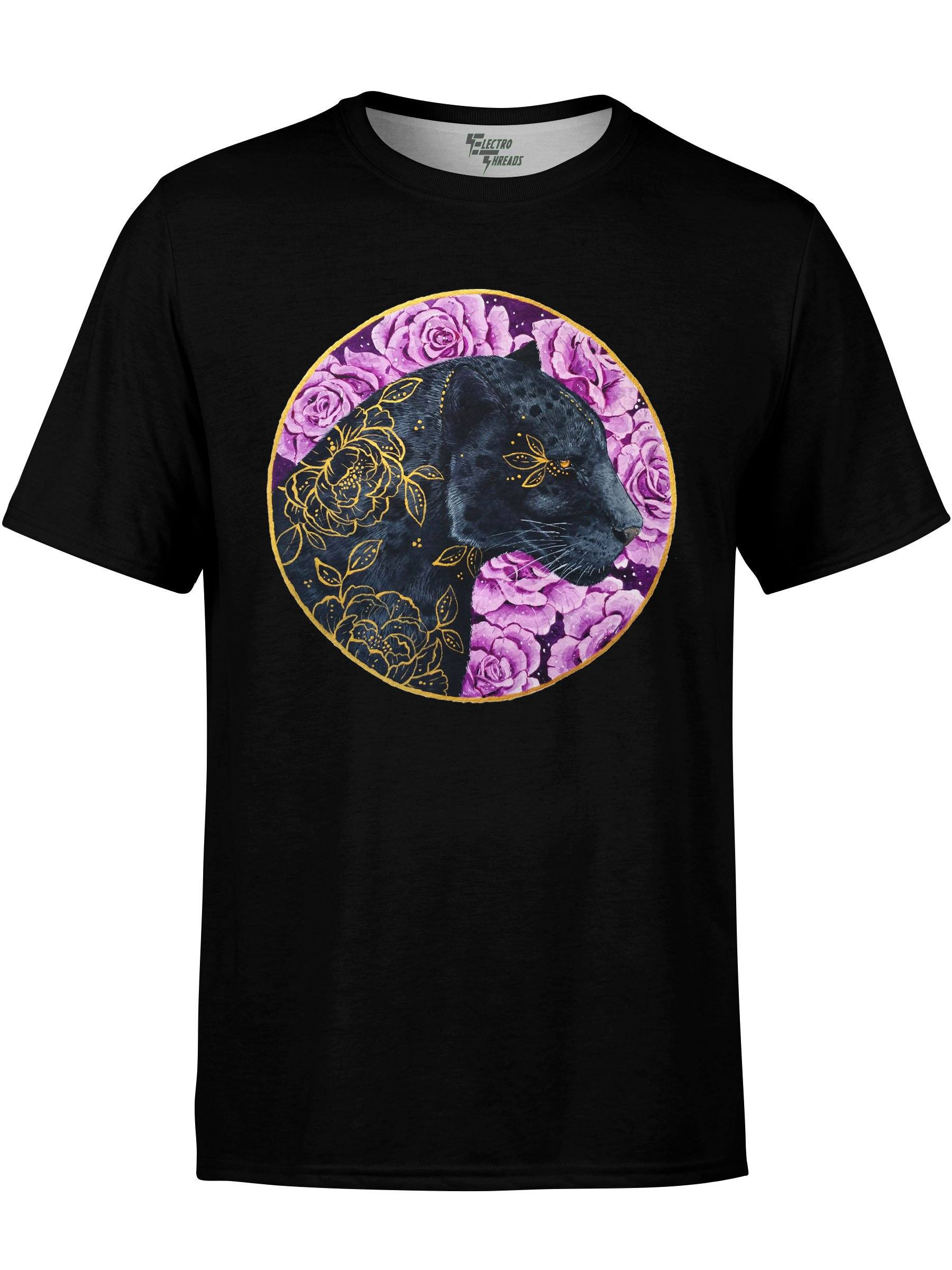 Floral Panther Unisex Crew T-Shirts Electro Threads