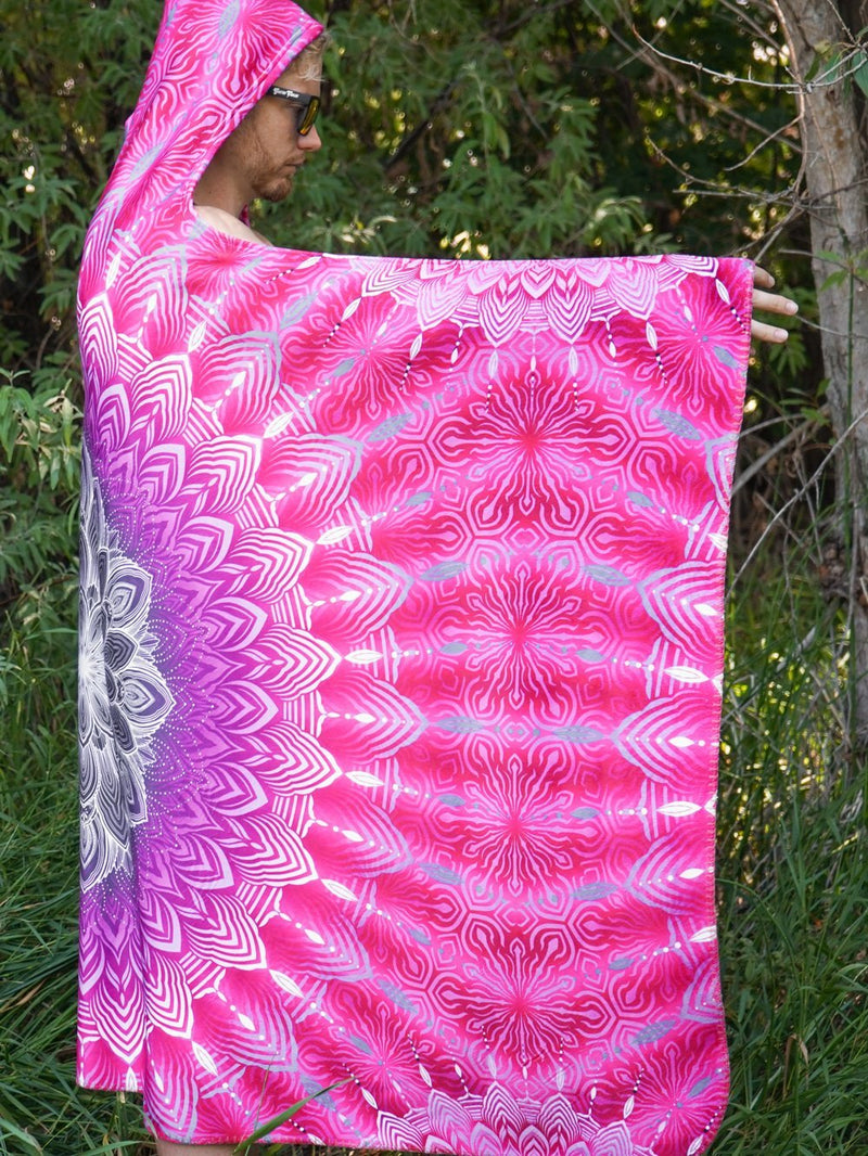 Fuchsia Glowing Mandala Hooded Blanket Hooded Blanket Electro Threads