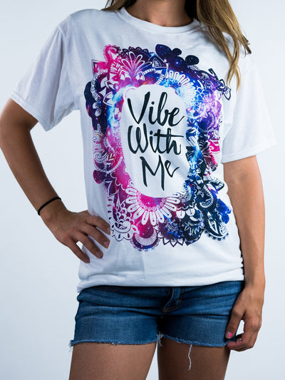 Galaxy Vibe with Me Unisex Crew T-Shirts Electro Threads