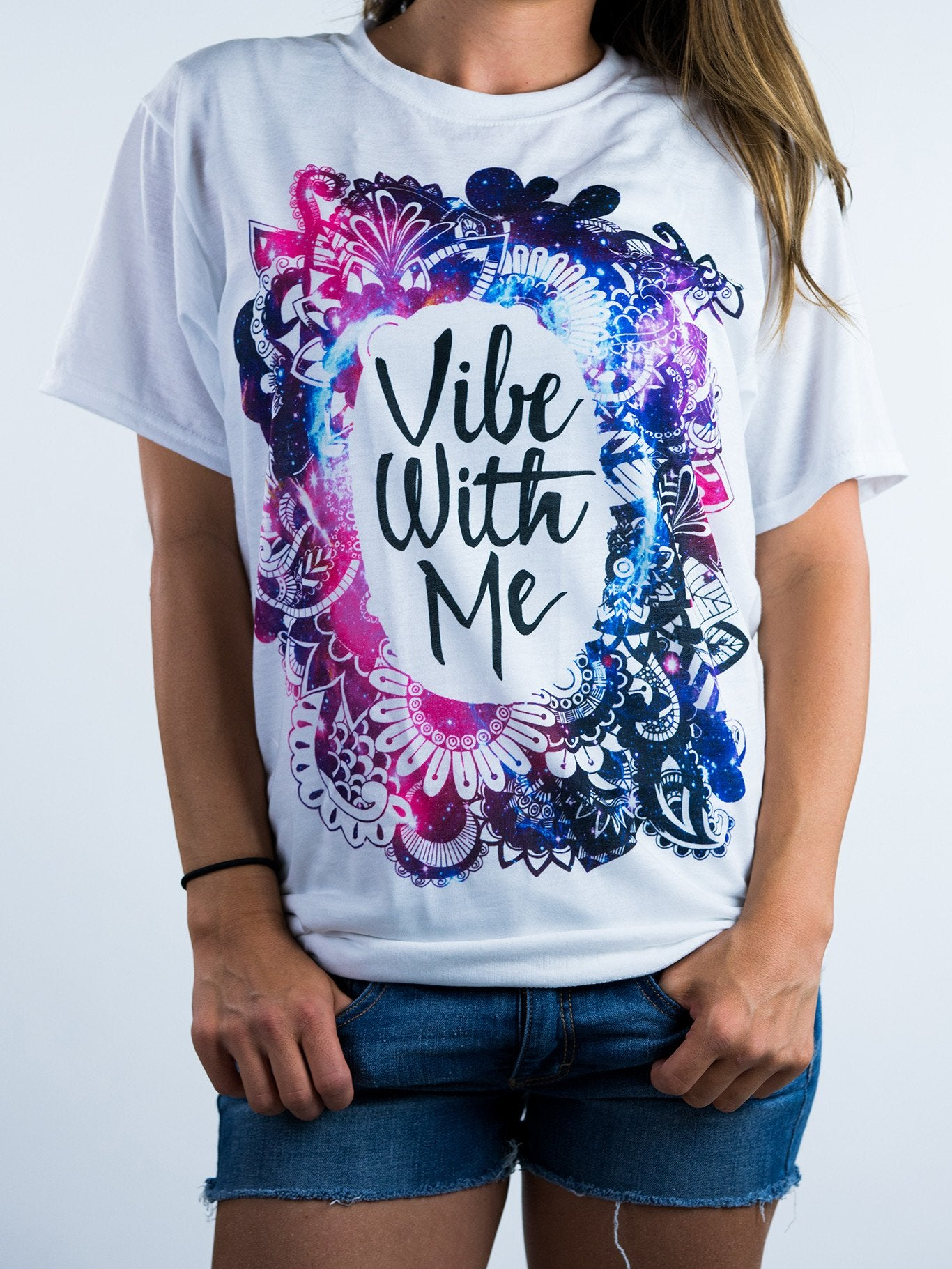 Galaxy Vibe with Me Unisex Crew T-Shirts Electro Threads X-Small