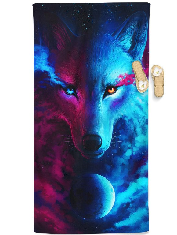 Galaxy Wolf Beach Throw Towel Electro Threads