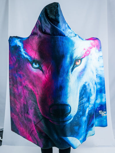 Galaxy Wolf Hooded Blanket Hooded Blanket Electro Threads
