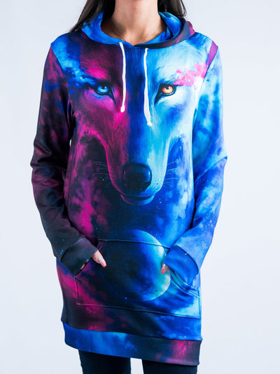 Galaxy Wolf Hooded Dress Hoodie Dress T6