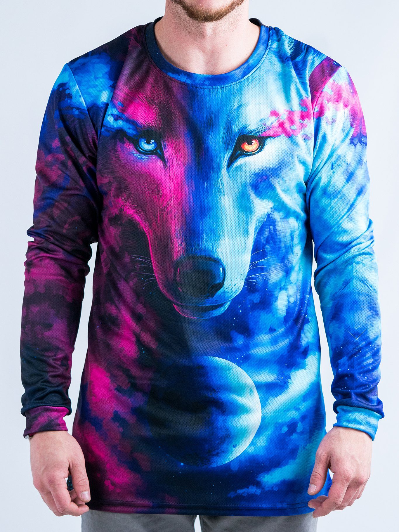 67bb1643 Galaxy Wolf Vented Long Sleeve Shirt – Electro Threads