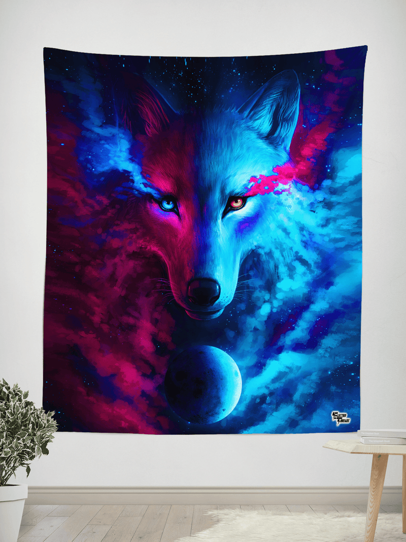 "Galaxy Wolf Tapestry Tapestry Electro Threads SMALL: 32"" x 42"""