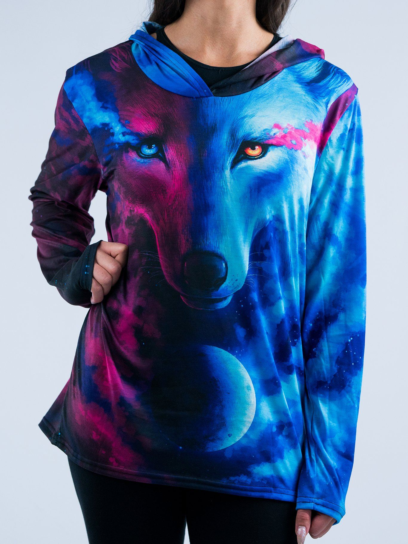 Galaxy Wolf Unisex Hooded Long Sleeve Shirt Long Sleeve T6