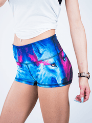 Galaxy Wolf Yoga Shorts Yoga Shorts T6 XS Low Waist Blue