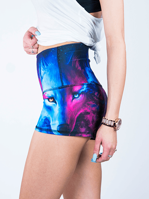 Galaxy Wolf Yoga Shorts Yoga Shorts T6 XS High Waist Blue