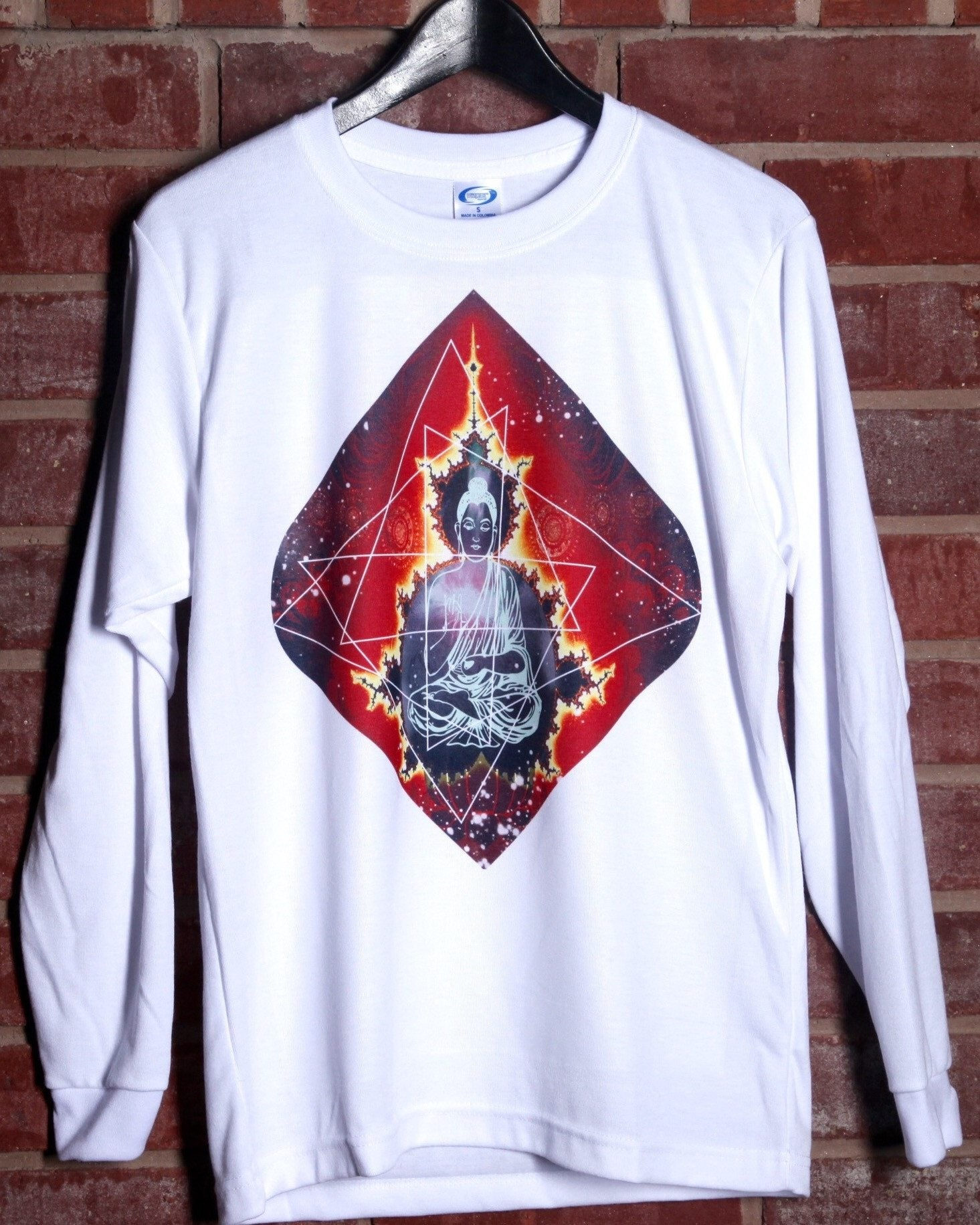 Geo-Buddha Unisex Long Sleeve Shirt Long Sleeve Electro Threads