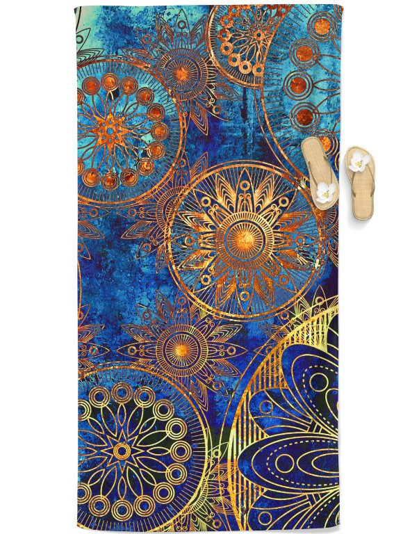 Gold Boho Beach Throw Towel Electro Threads