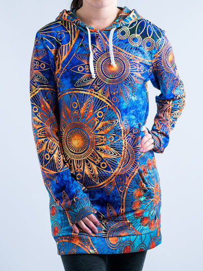 Gold Boho Hooded Dress Hoodie Dress T6 XS Blue