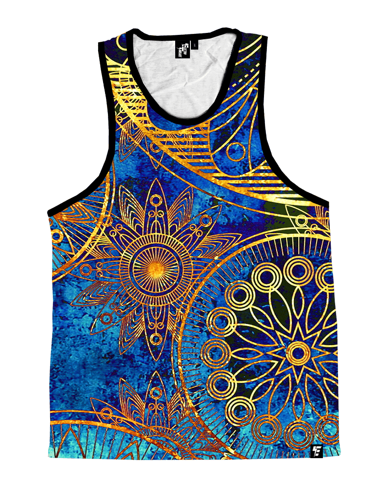 Gold BOHO Unisex Tank Top Tank Tops T6 X-Small Gold/Blue