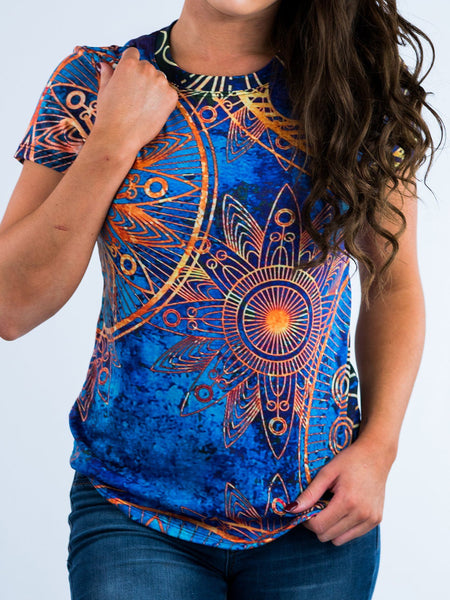 Gold BOHO Women's Crew T-Shirts T6 X-Small Blue/Gold