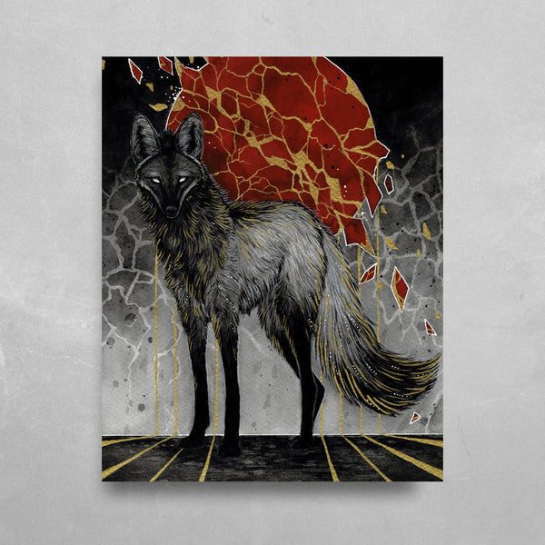 Gold Maned Wolf HD Metal Panel Print Ready to Hang HD Metal Print Electro Threads