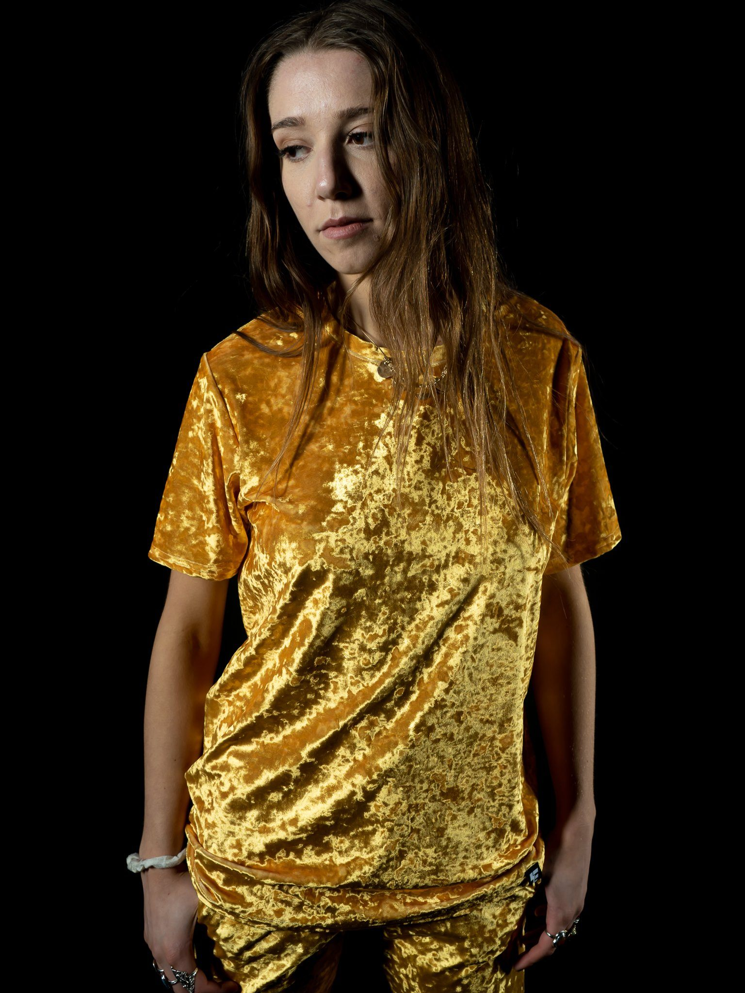 Gold Unisex Crushed Velvet Crew T-Shirts Electro Threads
