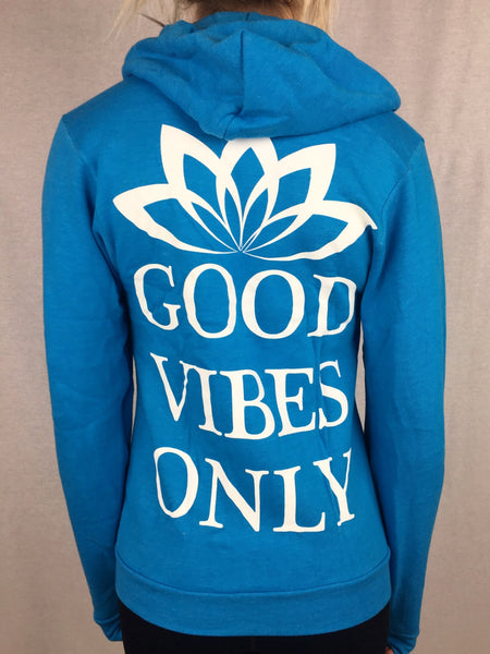 Good Vibes Only Unisex Zip-Up Hoodie Pullover Hoodies Electro Threads