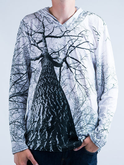 Higher Trees Unisex Hooded Long Sleeve Shirt Long Sleeve T6 XXS White