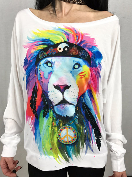 Hippie Lion Flowy Off Shoulder Off Shoulder Electro Threads X-Small White