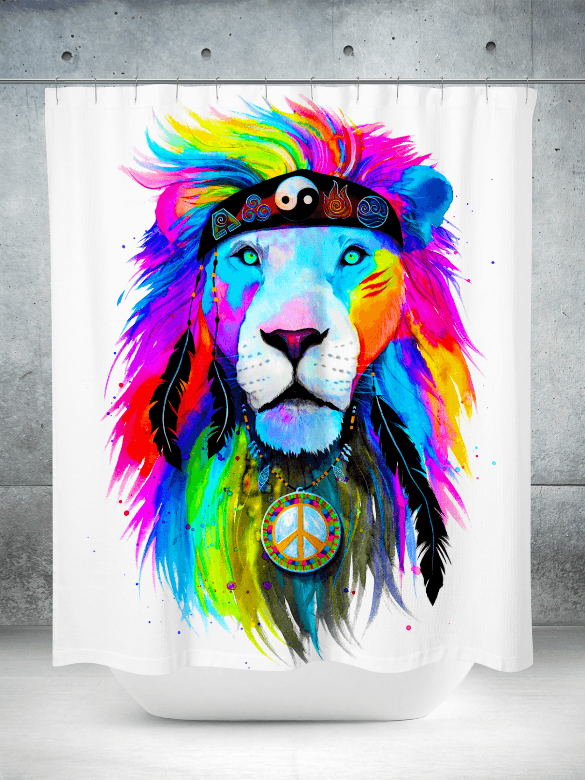 Hippie Lion Shower Curtain Curtains Electro Threads