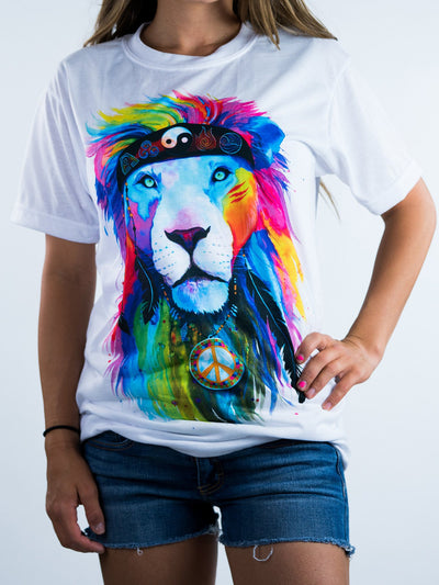 Hippie Lion Unisex Crew T-Shirts Electro Threads
