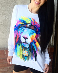Hippie Lion Unisex Long Sleeve Long Sleeve Electro Threads X-Small