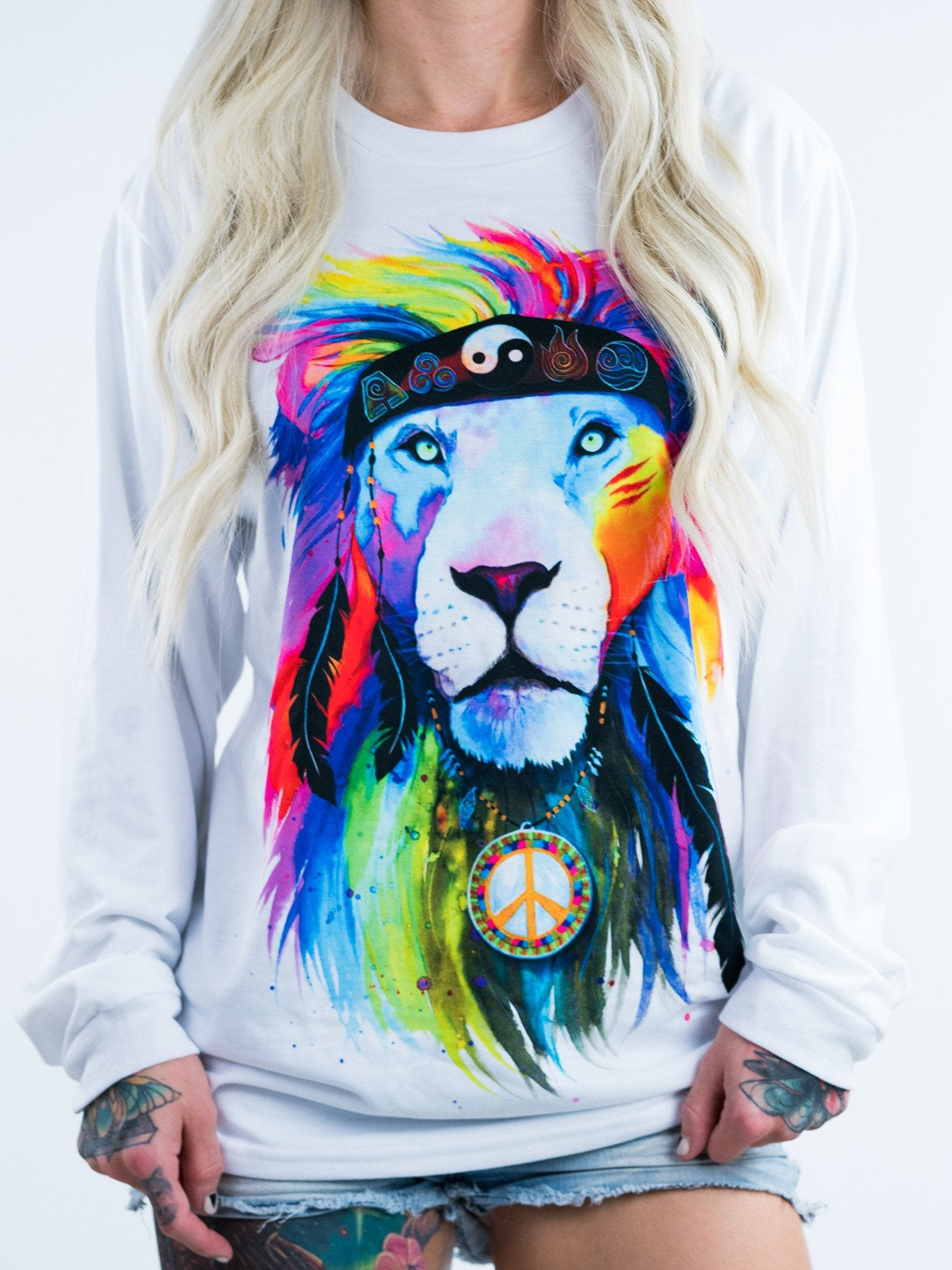 Hippie Lion Unisex Long Sleeve Long Sleeve Electro Threads