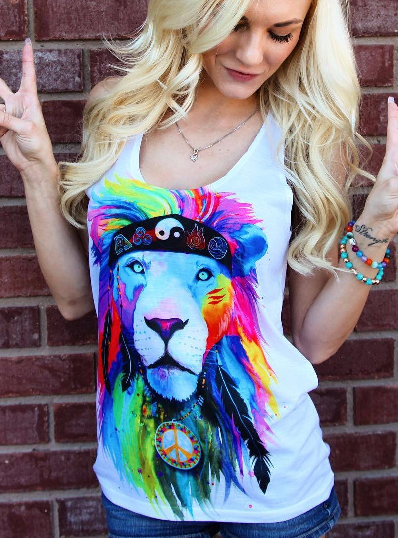 Hippie Lion Unisex Tank Top Tank Tops Electro Threads
