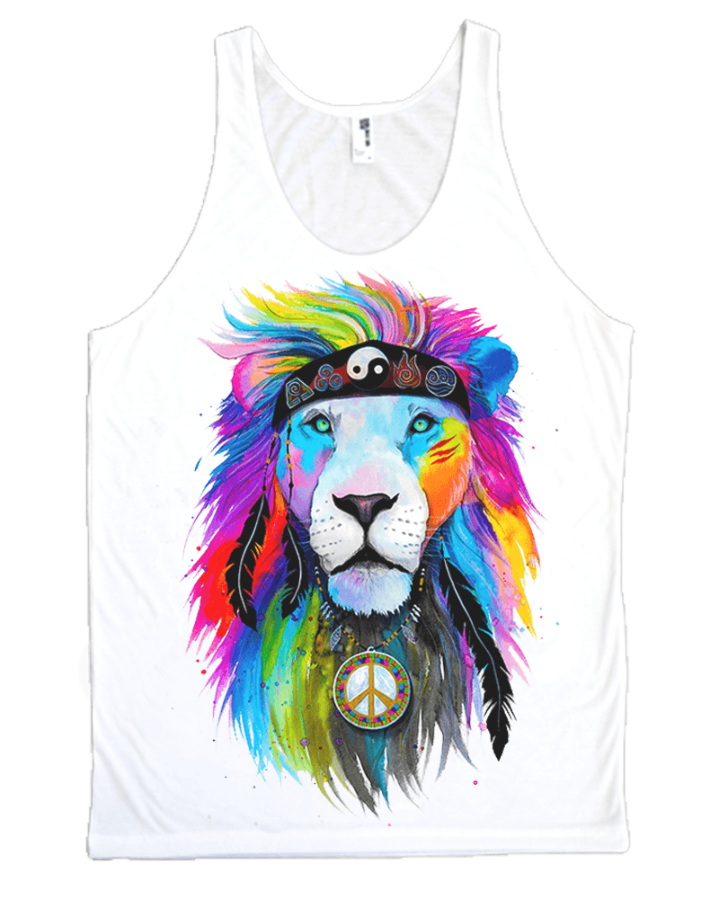 Hippie Lion Unisex Tank Top Tank Tops Electro Threads X-Small